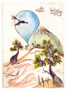 Fliegender Elefant, kolorierte Radierung, Größe 20 x 15 cm, Preis bei 60,- €